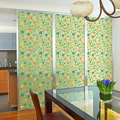 Frosted Floral Static Cling Stained Glass Door Window Film Sticker Decor