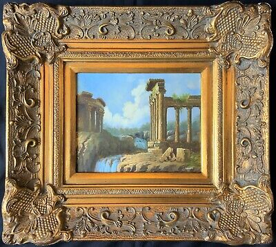SUPERB 20thc ITALIAN SCHOOL A CAPRICCIO OF RUINS LANDSCAPE OIL ON PANEL PAINTING