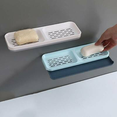 Bathroom Double Layer Soap Dish Tray Holder Case Wall Mount JA