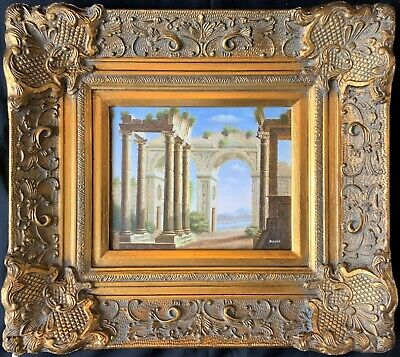 SUPERB 20thc ITALIAN SCHOOL A CAPRICCIO OF RUINS WITHIN A LANDSCAPE OIL PAINTING