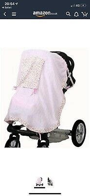 Minene Peek A Boo Stroller UV Canopy Sunshade Pram Cover Pink Floral With Buckle