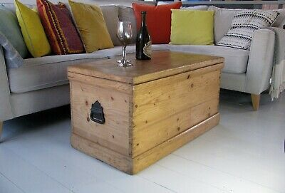 Victorian Pine Blanket Box With Original candle drawers & cast iron side handles