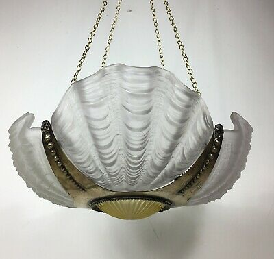 Antique Art Deco Glass ClamShell Odeon Chandelier Ceiling Lamp Light Shade Brass