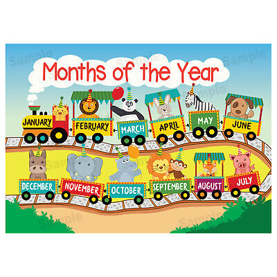 Months of the Year Poster, Educational Wall Charts, Learn Kids Children's Poster