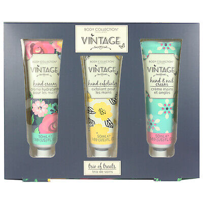 Vintage Hand & Nail Cream Hand Exfoliator Scented Pamper Trio of Treats Gift Set