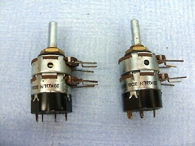 Quantity  Of  2  Lin  20K   Dual  Switched  (Dpst)  Potentiometers