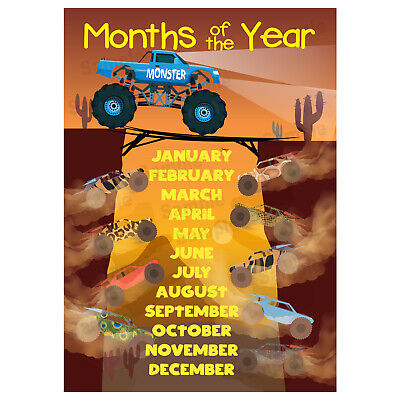 Months of the Year Poster, Educational Wall Charts, Kids Children's, Cars Theme