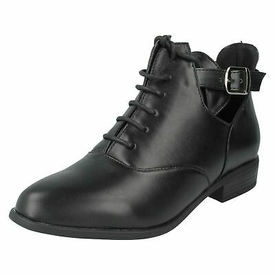 Ladies Black Lace-Up Buckle Ankle Boots Low-Heel Smart Casual Shoes Sizes 3-8