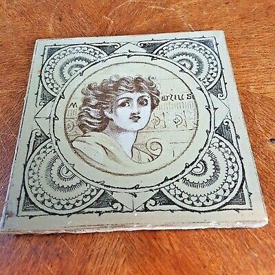 Antique Victorian handpainted Tile Months of Year  Martius