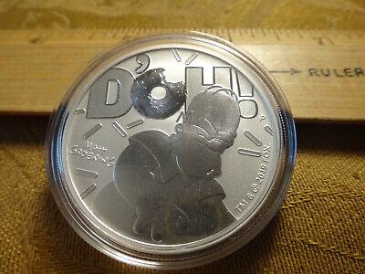 2019 Tuvalu 1 Oz Silver Uncirculated Proof Homer Simpson D'OH - Free S&H USA