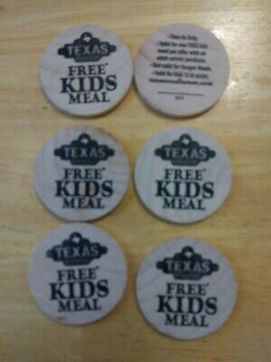 6 Texas Roadhouse Kids Meal Tokens Coupons NO SHIPPING CHARGE