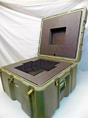 "Military Heavy-Duty Plastic Shipping/Equipment Case Olive Drab 26"" x 24"" x 17"""
