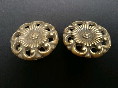 "2 Antique Style  Solid Brass  ROUND KNOBS Ornate FLORAL 1-5/8"" dia. #K24"