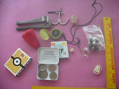 Junk Drawer Lot: Marbles, Cards, Foreign Money, Light Pull, Compass & Misc