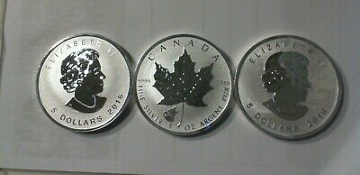 2016 Canada 1 Ounce .9999  Silver Maple Leaf Wolf  Privy  Reverse Proof Lot Of 3