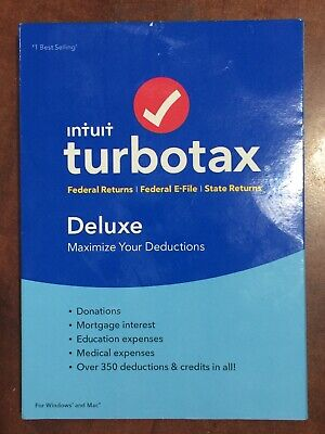Intuit 2018 TurboTax Deluxe Federal E-File & State Tax, Windows/Mac, Sealed CD