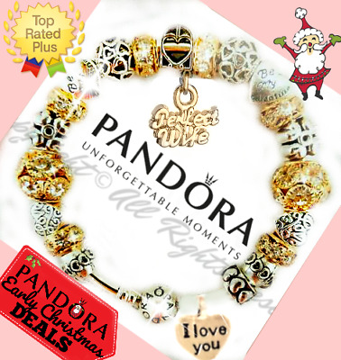 Authentic PANDORA CHARM Bracelet Silver Gold VALENTINE with European Charms New
