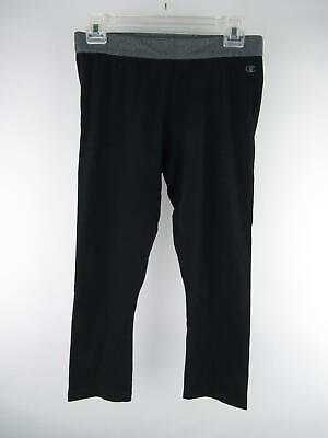 Champion Women's sz M Black Cropped Elastic Waist Fitted Activewear Leggings