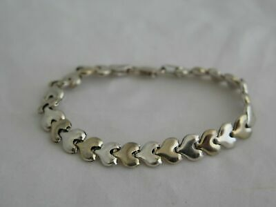 """Vintage Two-Tone Sterling Silver 7"""" Small Link Bracelet"""