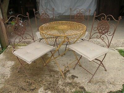 Early 20th century French folding metal patio suite (ref 691)