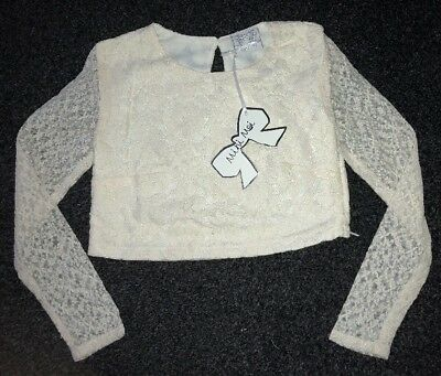 Girls  Lace Top / Long Sleeved T-shirt Aged  7-8 Years BNWT