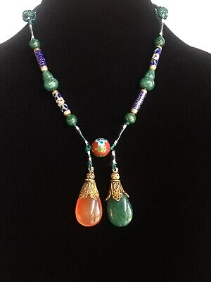 Antique Vintage Chinese Cloisonne Gilt Silver Partial Court Necklace Gourd Beads