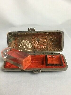 Antique Vintage Chinese Rock Crystal Glass Personal Seal Stamp With Case Silver