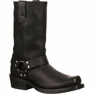 Durango Mens Black Leather Harness  Motorcycle Boots - 11 Inches Tall