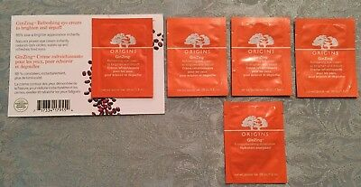 ORIGINS GINZING 4x Refreshing Eye Cream & 1x Energy Moisturizer Sample Packets