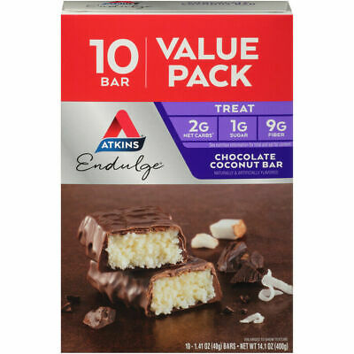 10 Boxes Atkins Endulge Chocolate Coconut Bars 100 bar total