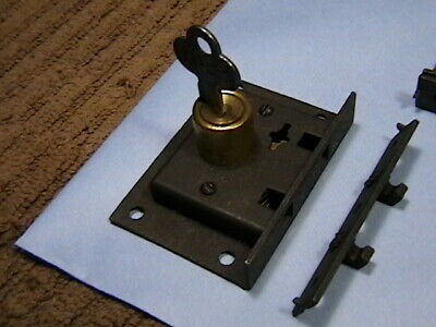 1 Antique Chest Lock With Key, Corbin Cabinet Lock Co, Early 1900s NOS with Keep