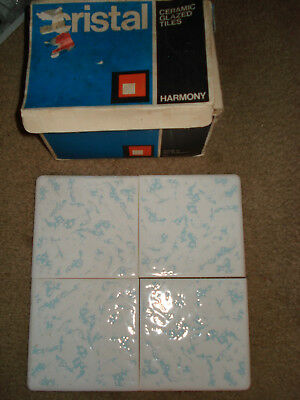 "19 Vtg Cristal Blue Cloud 4 1/4"" X 4 1/4"" Round Edge Tiles Tc-1 Johnson England"