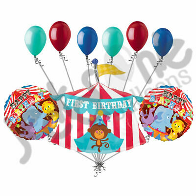 """12/"""" R/&Y Assorted Balloons Pack of 25  /& Bunting Happy Birthday Circus Bundle"""
