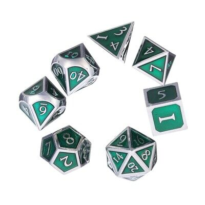 7Pcs/Set D4-D20 Metal Polyhedral Dice For DND RPG MTG Role Playing Game With Bag