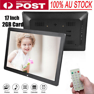 """17"""" HD 1080P LED Digital Photo Picture Frame Movie Player Video Remote Control"""