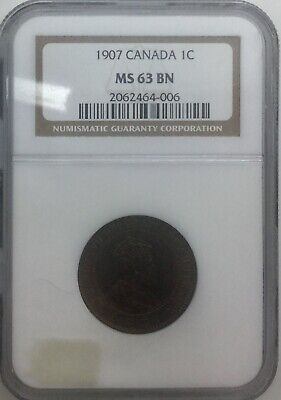 Canada 1907 MS63 Brown Large Cent  Pleasing Coin Some Red NGC Graded