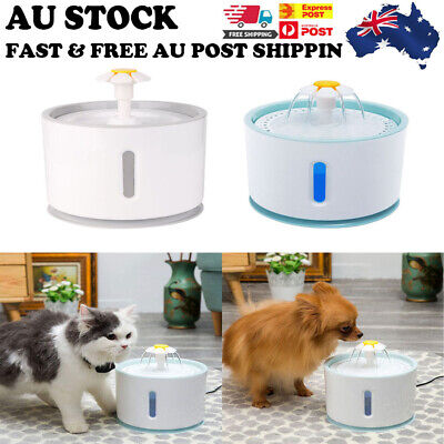 AU LED USB Automatic Electric Pet Water Fountain Cat/Dog Drinking Dispenser 2.4L