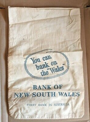Vintage Bank Of New South Wales Calico Coin Cash Bag You Can Bank On The Wales A