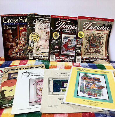Treasures In Needlework Magazines + Other Patterns Pamplets LOT OF 8