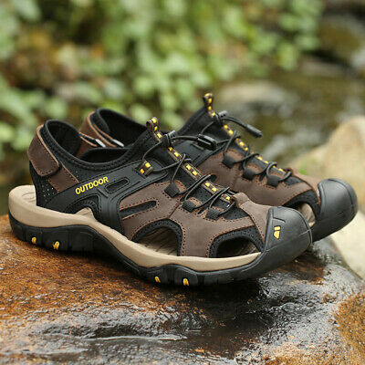 Mens Sandals Hiking Walking Outdoor Leather Shoes Casual Closed Toe Flat Sandals