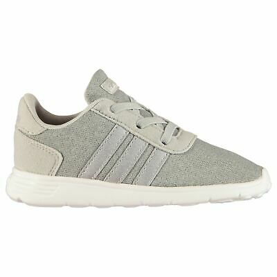 adidas Lite Racer Infant Girls Trainers Shoes Running Light Grey/Silver Footwear