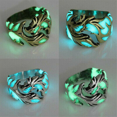 Retro Mens Luminous Dragon Ring Adjustable Band Finger Rings Jewelry Gift