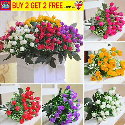 36HEADS ARTIFICIAL SILK FLOWERS BUNCH Wedding Home Grave Outdoor Bouquet JEN