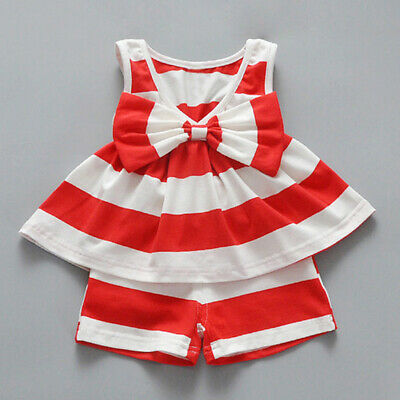 Baby Girls Tops + Short Skirt Clothes Set Toddler Newborn Dress Stripe Party