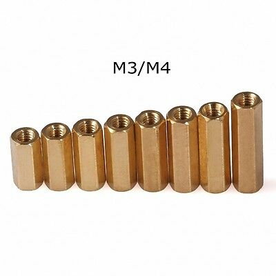 M2 M3 M4 Hex Tapped Brass Spacer Stand-Off Pillar Female-Female Brass Threaded