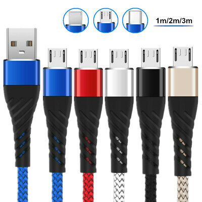 Long Braided USB Quick Charger Data Charging Cable Lead For Micro USB Type C iOS