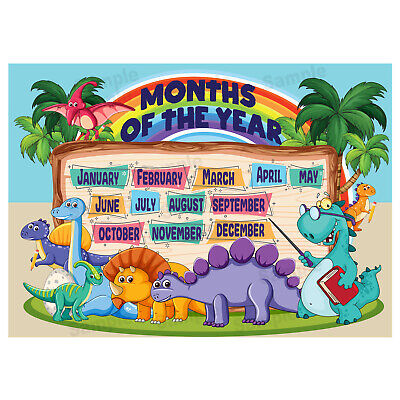Months of the Year Poster, Educational Wall Charts, Kids Child, Dinosaurs Theme