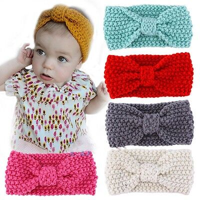 Cute Kids Girl Baby Toddler Crochet Bow Headband Hair Band Accessories Winter Y1