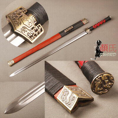 Han Dynasty Chinese Sword Jian Folded Steel Sharp Blade Redwood Saya Handmade