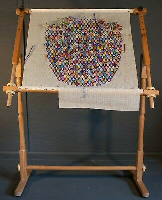 Embroidery/ Tapestry/ Rug Making Free Standing Frame with Part done Embroidery